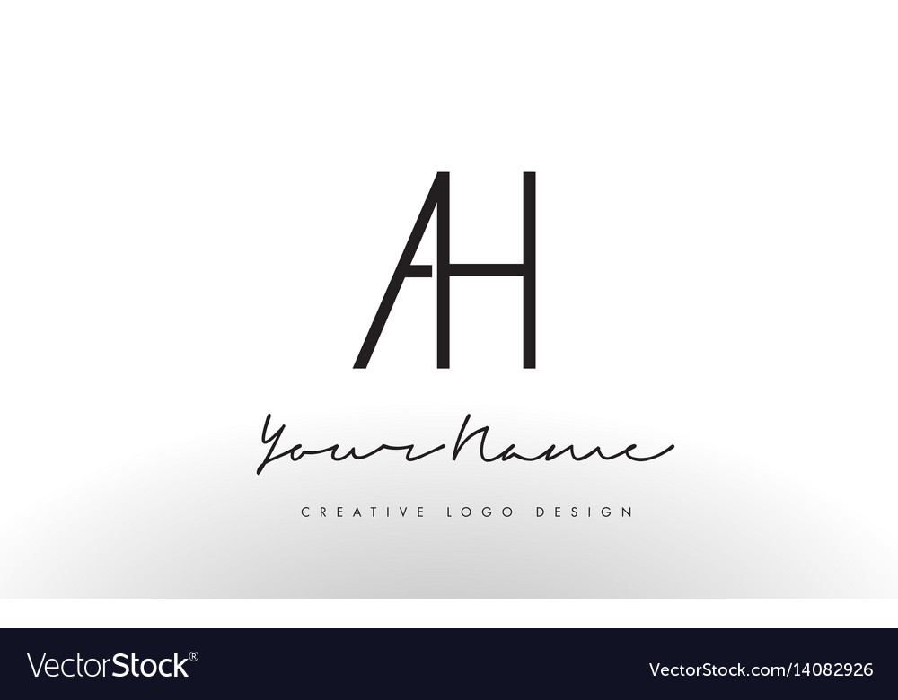 Ah letters logo design slim creative simple black vector image