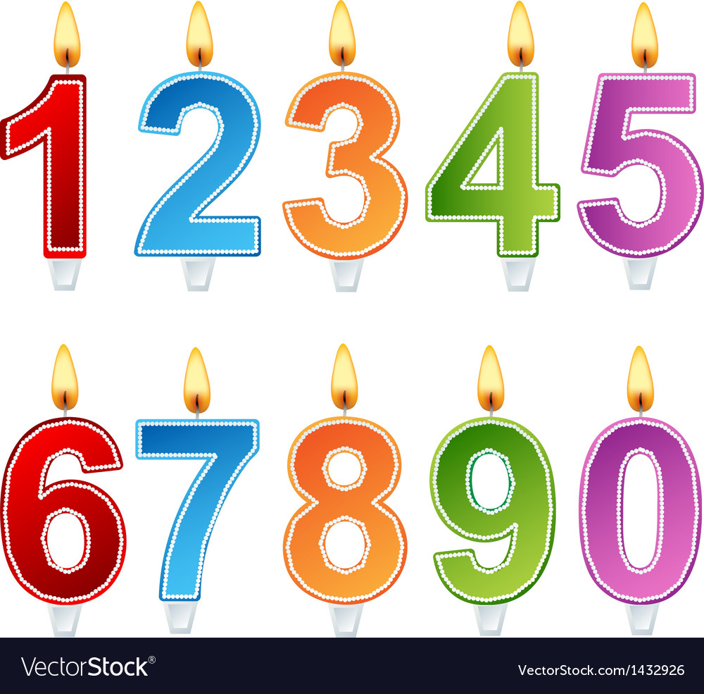 Birthday number candle set vector image