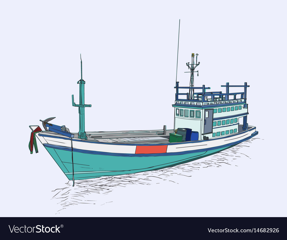Drawing of fishing trawler at the sea sketch