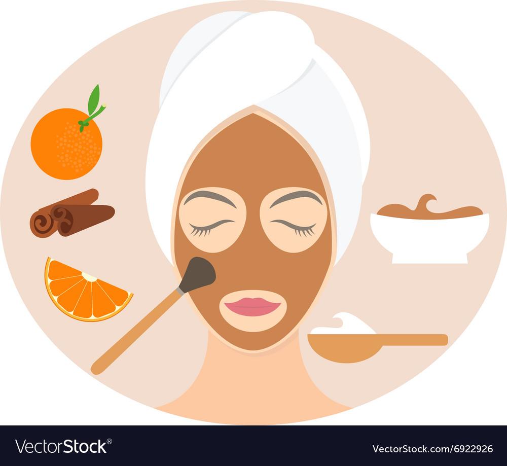 Flat design woman in natural mask of yogurt orange