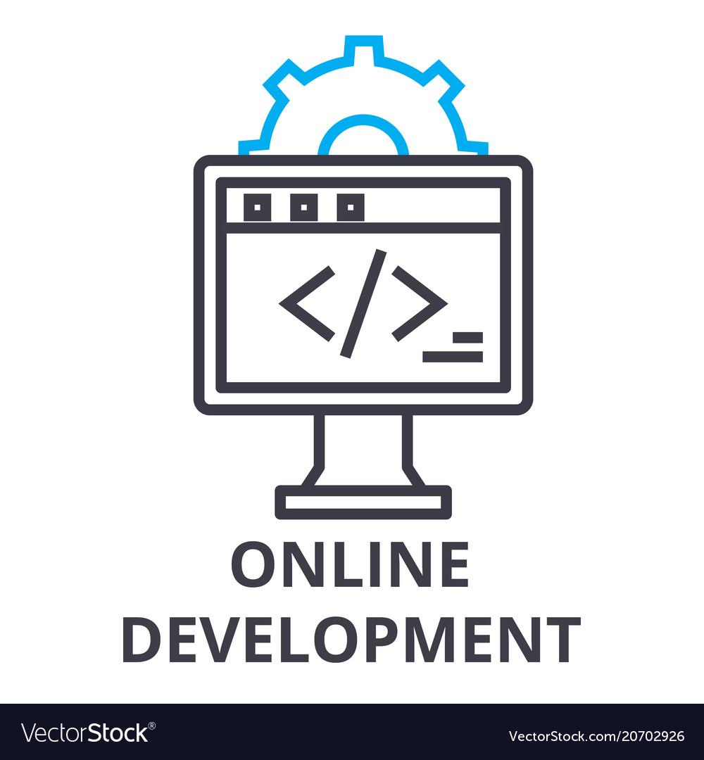 Online development thin line icon sign symbol