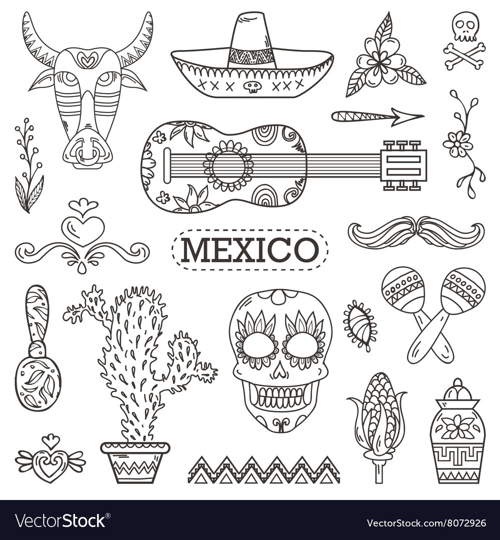 Set of Mexican traditional and cultural elements