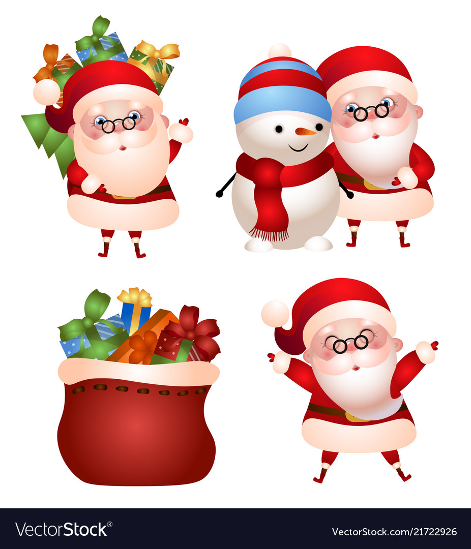Set santa claus with gifts