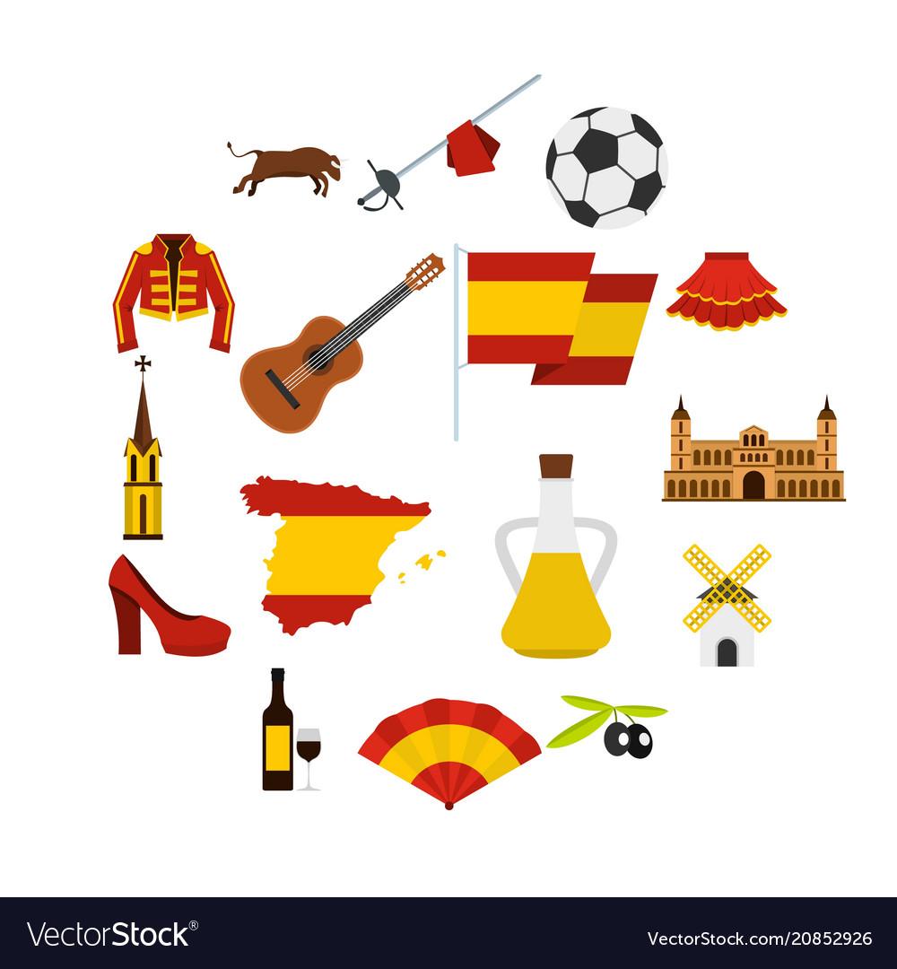 Spain travel set flat icons