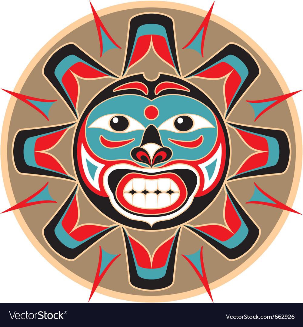 Sun in native american style vector image