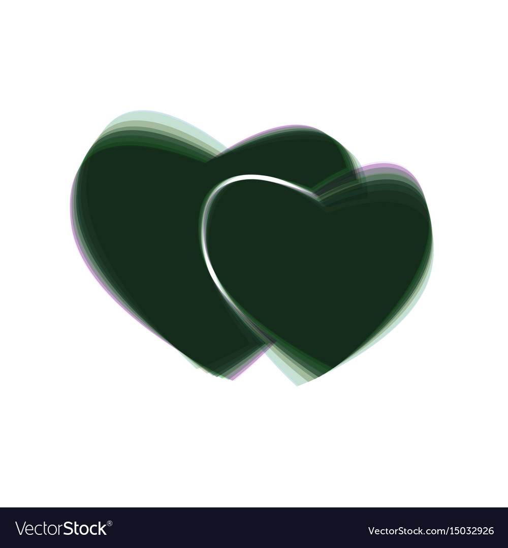Two hearts sign colorful icon shaked with vector image