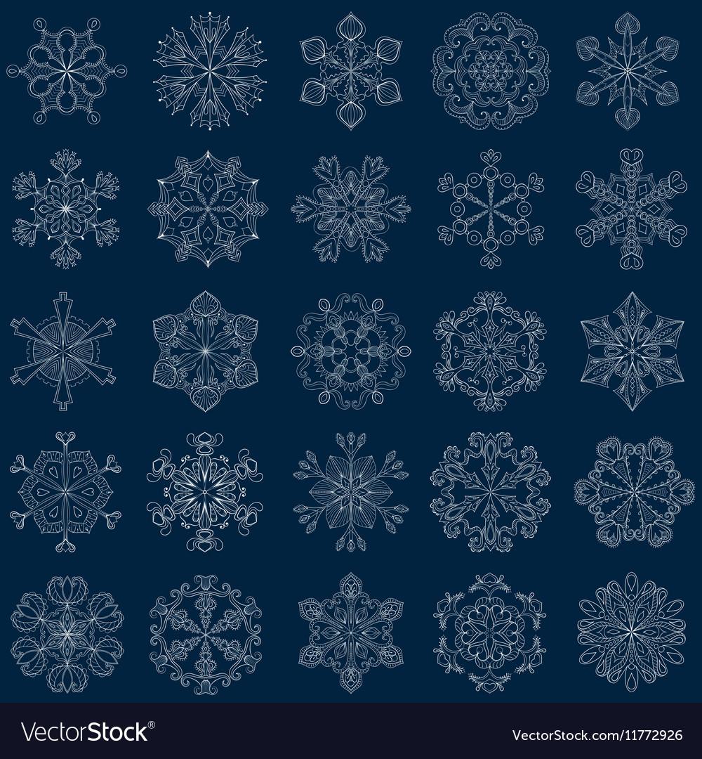 Vintage snowflake set in zentangle style 25
