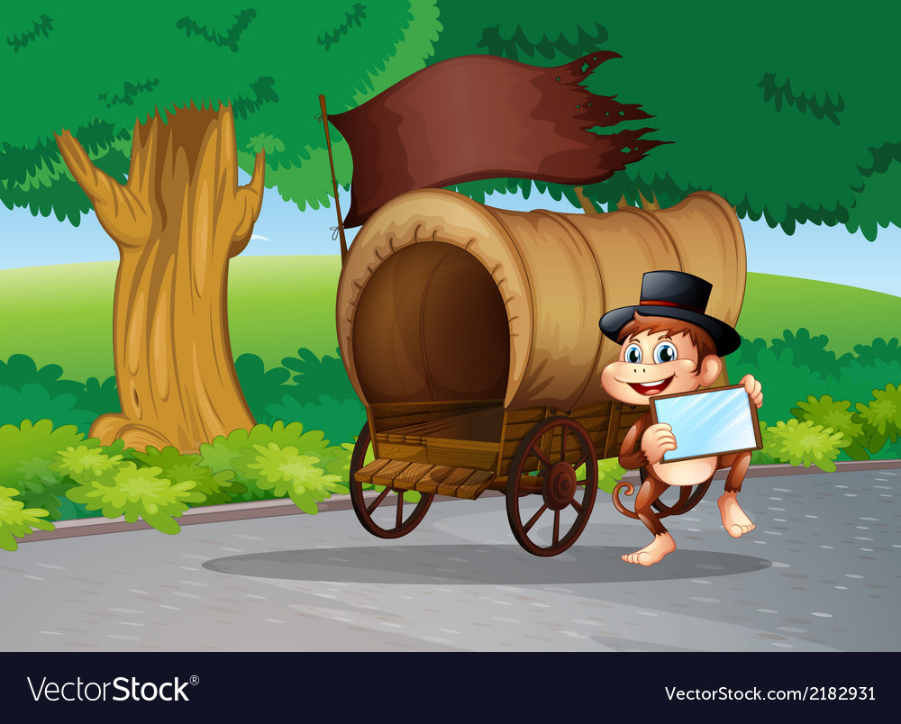 A monkey at the street standing beside the wagon vector image