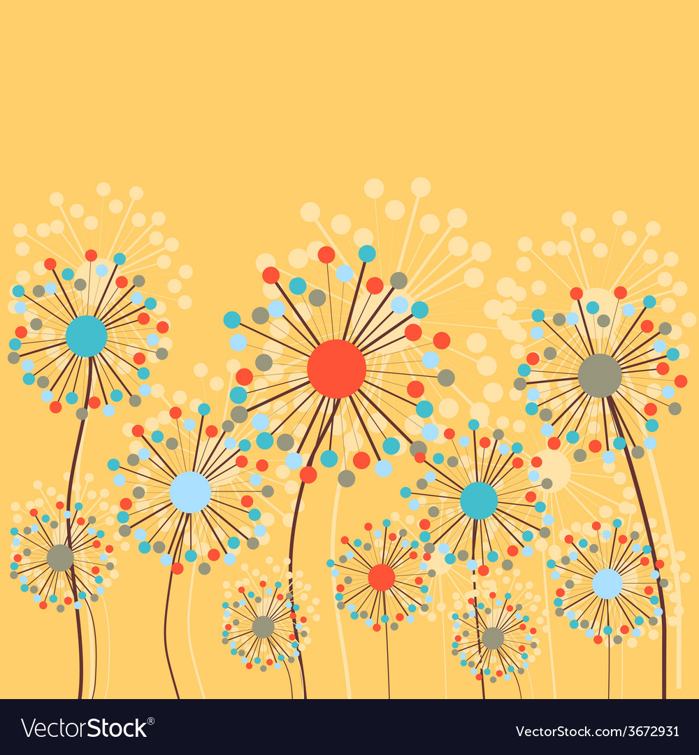 Abstract Dandelion Flowers Background vector image