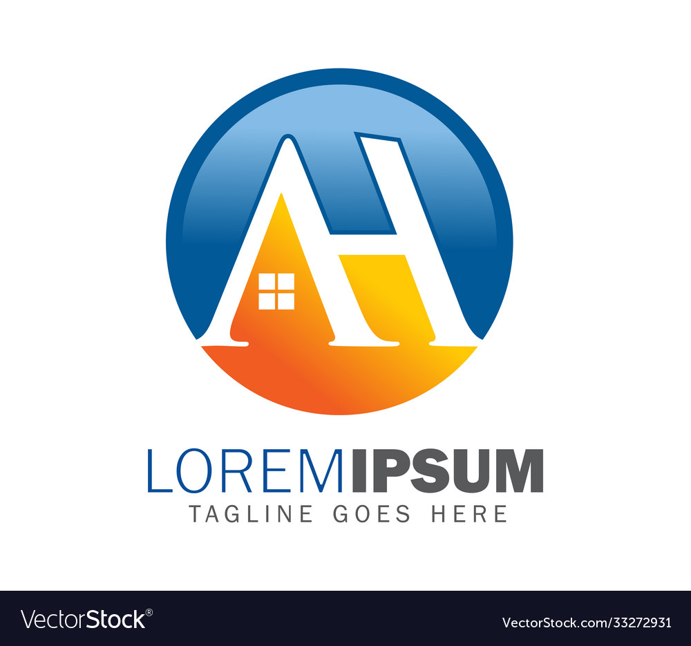 Ah Monogram Initial Home Logo Sign Royalty Free Vector Image