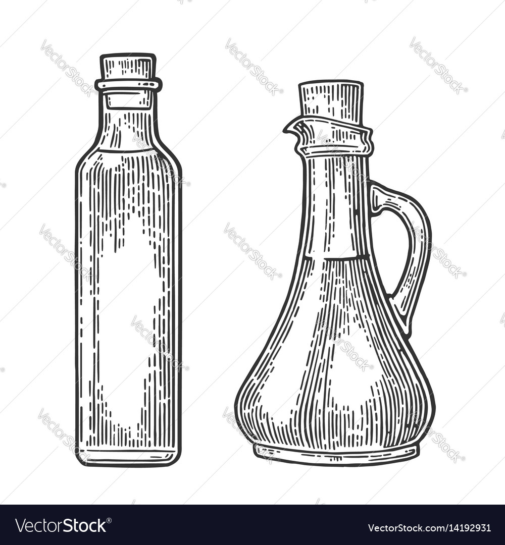 Bottle and jug glass of liquid with cork stopper