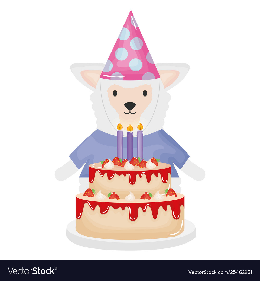 Pleasant Cute Sheep With Sweet Cake In Birthday Party Vector Image Funny Birthday Cards Online Benoljebrpdamsfinfo