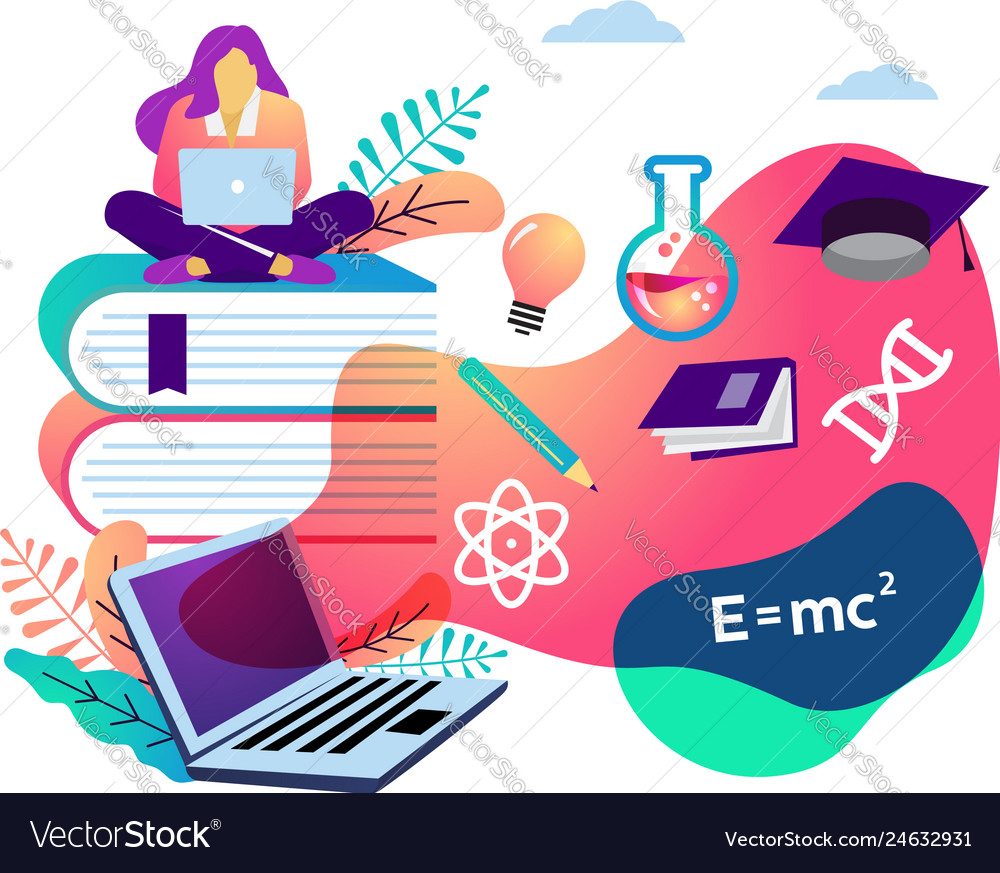 E learning concept student sitting on books with