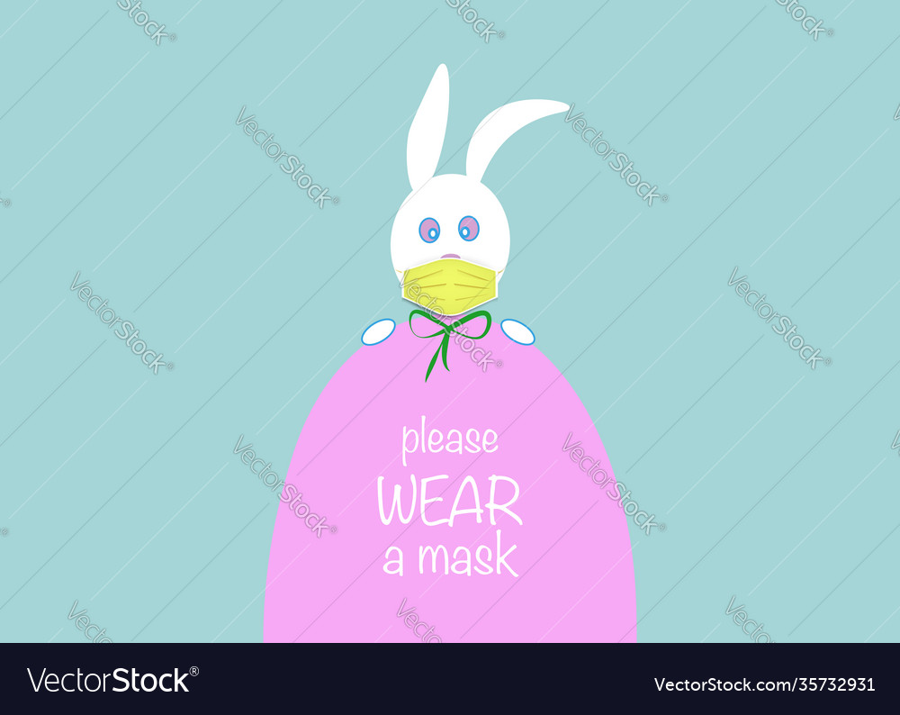 Easter egg and white bunny rabbit wear face mask