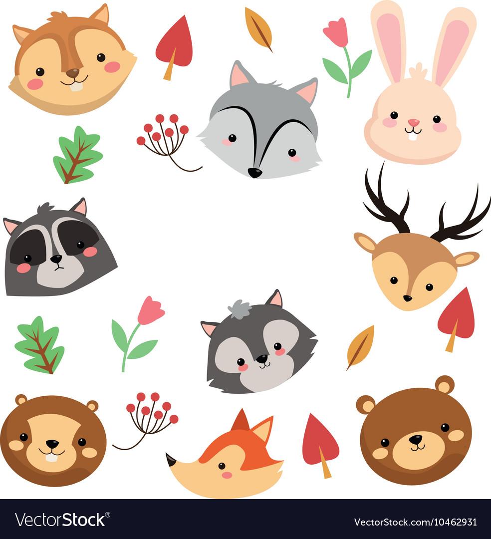 Forest animals pattern icon