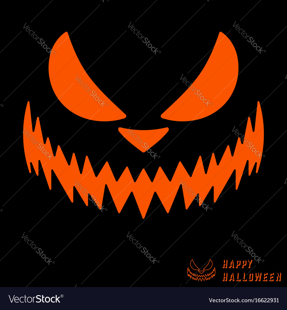 Halloween scary pumpkin template Royalty Free Vector Image