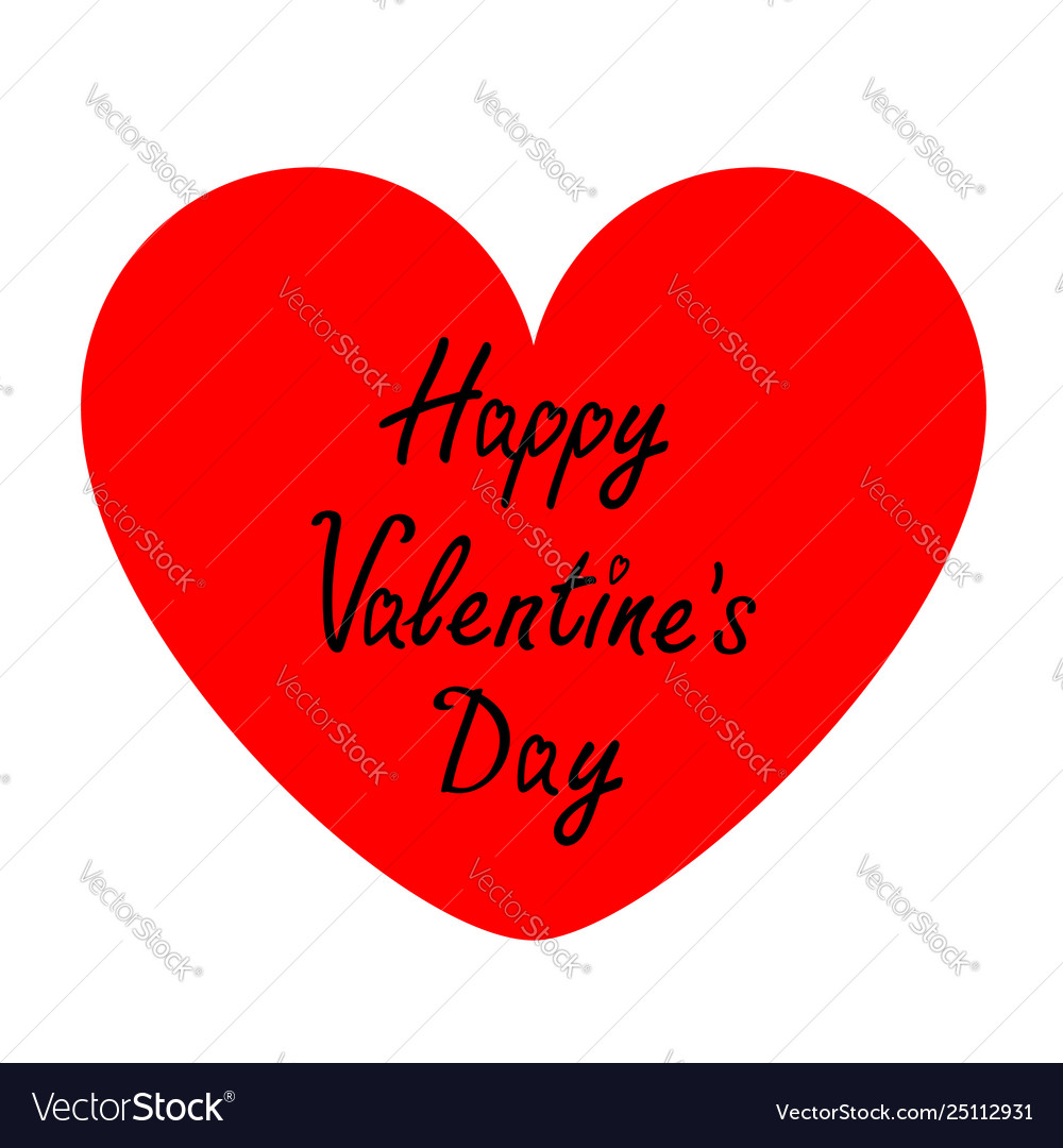 Happy valentines day sign symbol big red heart