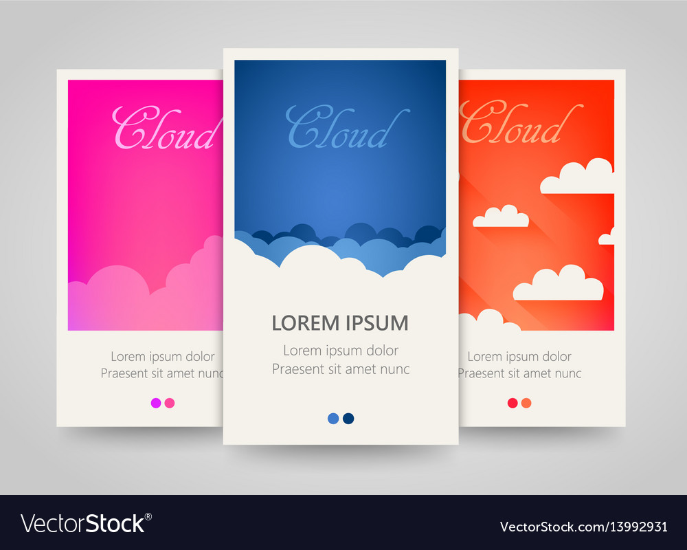 Modern colorful vertical cloud banners cloudy