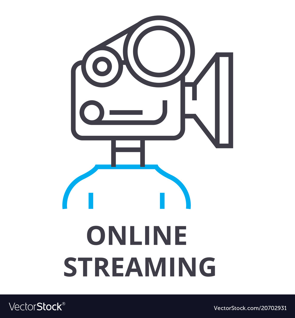 Online streaming thin line icon sign symbol