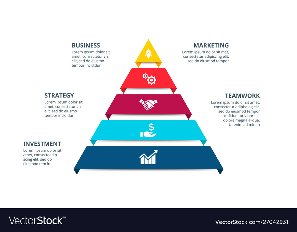 Pyramid infographic with 5 options
