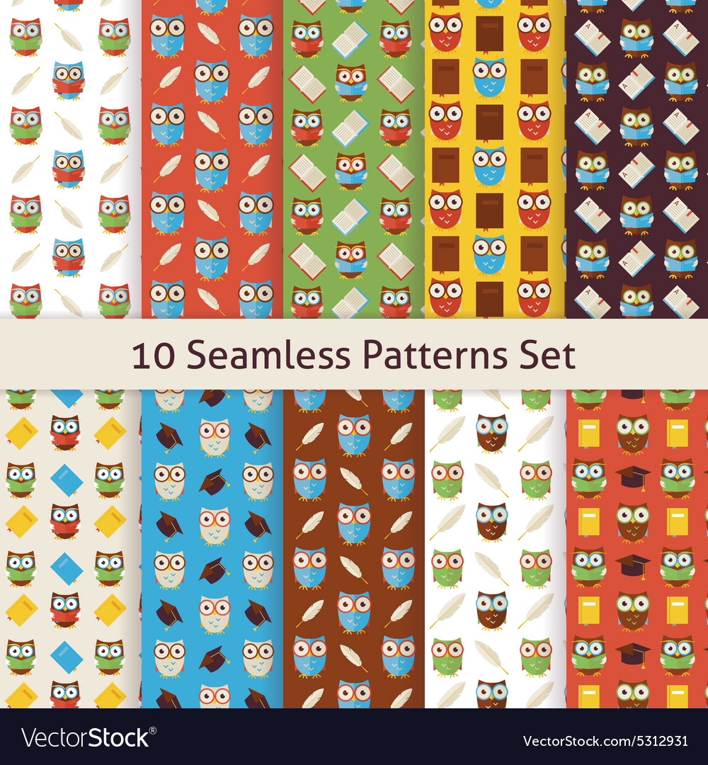 School and Education Owls Flat Seamless Patterns