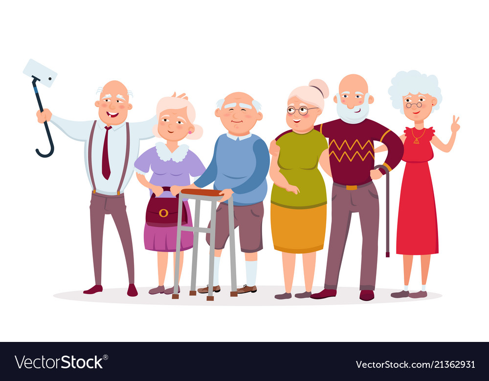 Set of cheerful senior people hipsters gathering