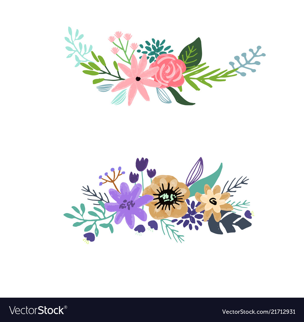 Set of floral bouquet isolated on white background