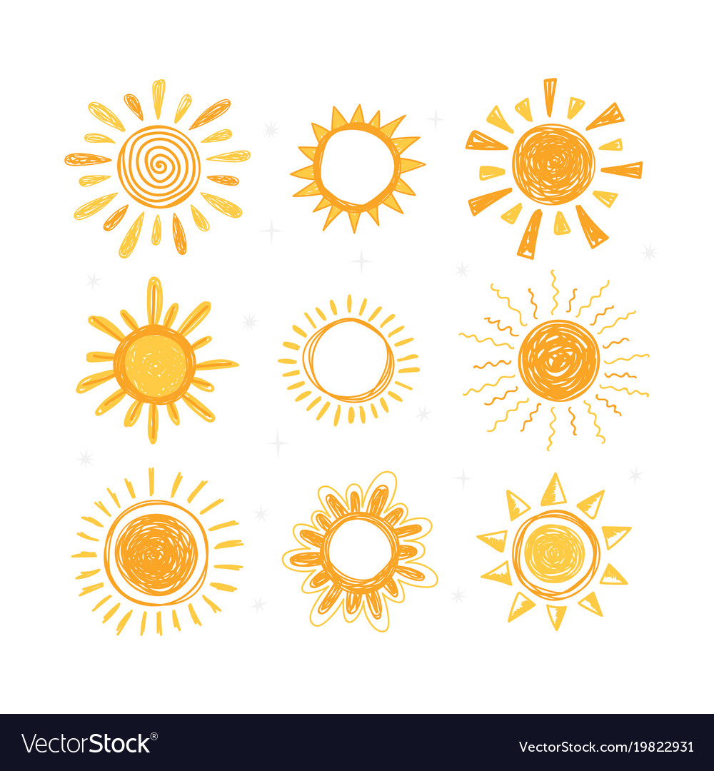 Set of hand drawn sun symbols collection of