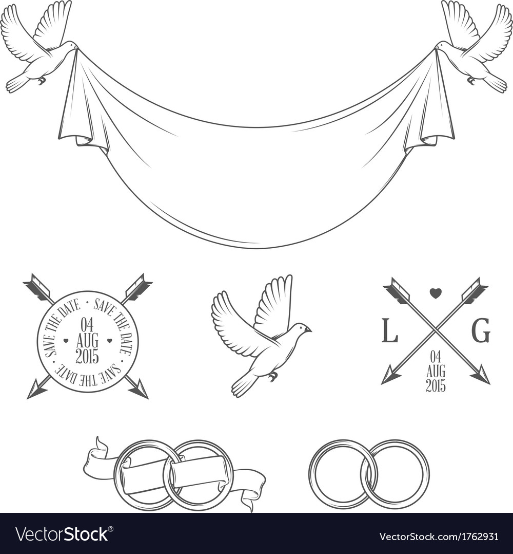 Set of vintage wedding invitation design elements vector image stopboris Image collections