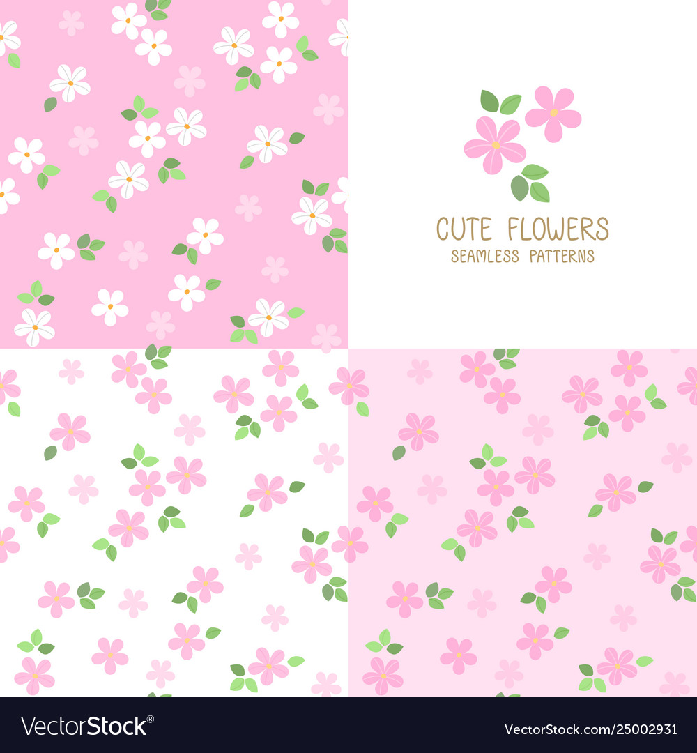 Set Seamless Pink Flower Patterns Royalty Free Vector Image