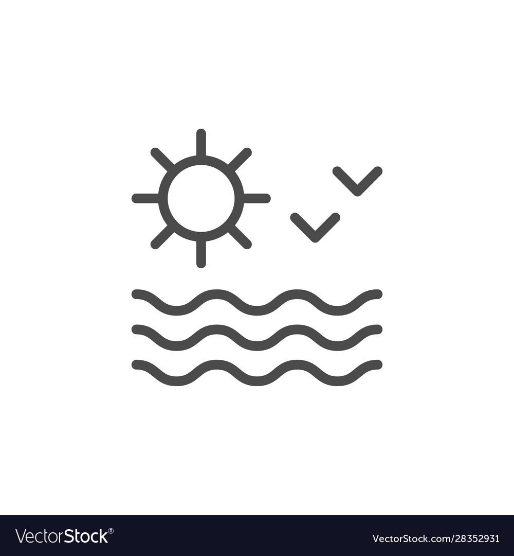 Sun seascape line outline icon