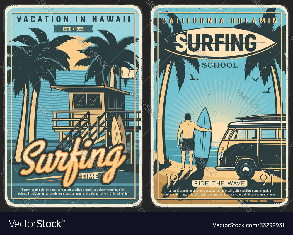 Surfing retro poster surf beach summer surfer
