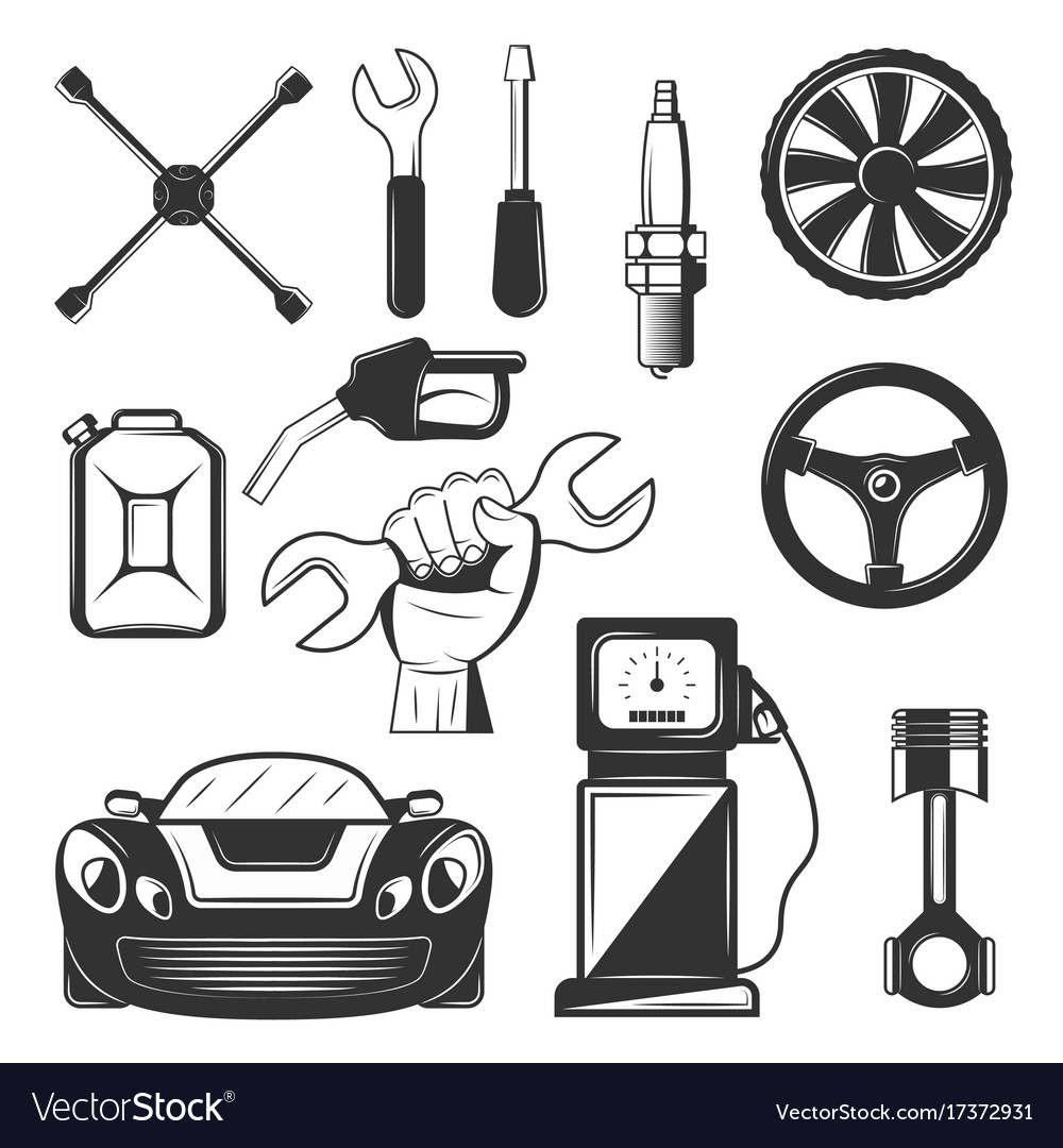 Vintage car service icons symbols set vector image