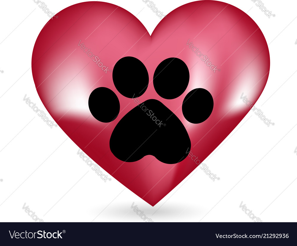 Animal paw and heart icon