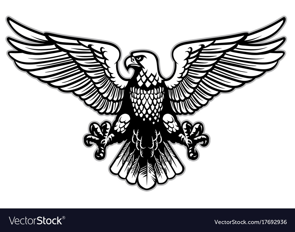 Black and white heraldry eagle vector image
