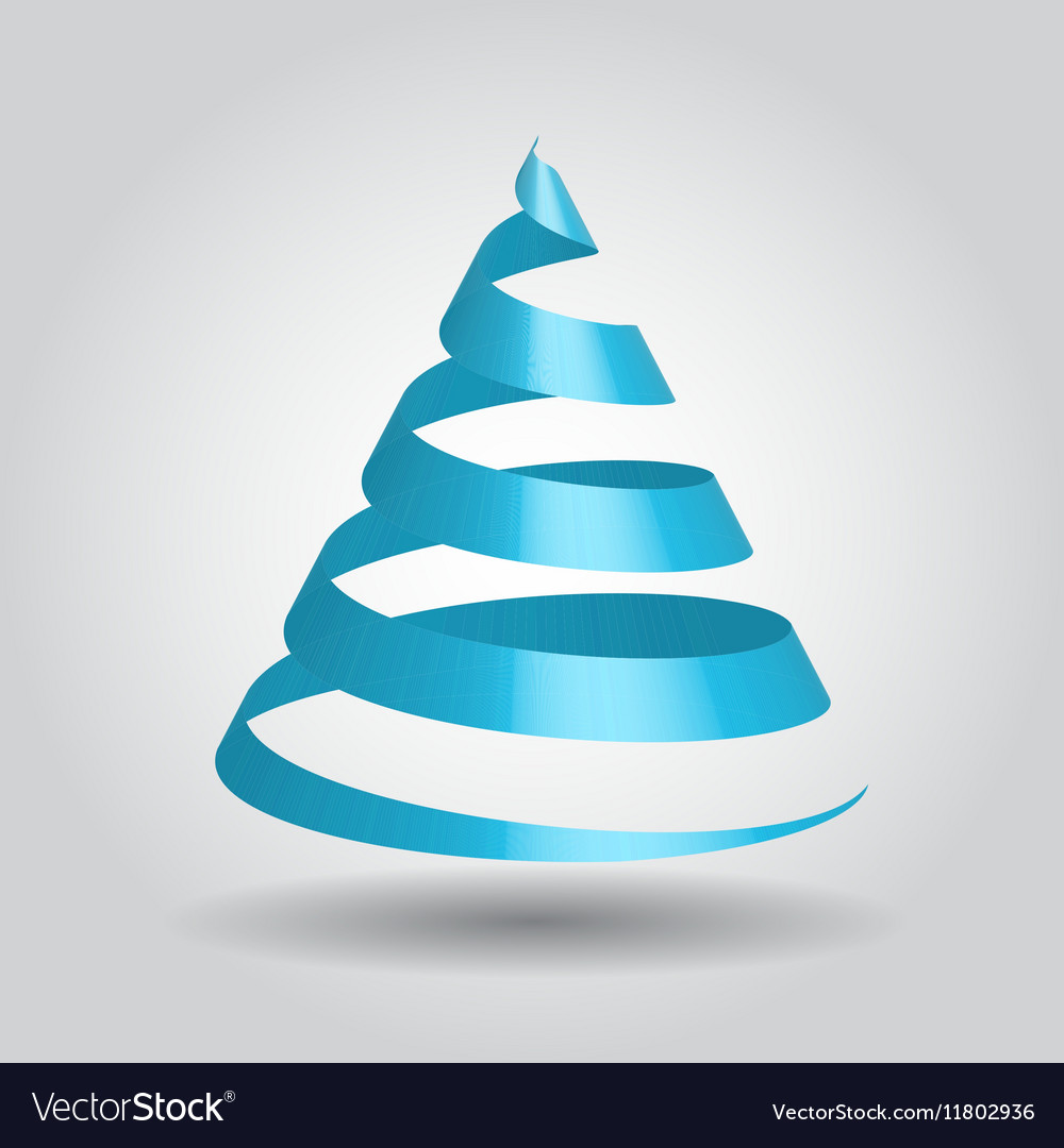 Blue glossy ribbon in a shape of Christmas tree vector image