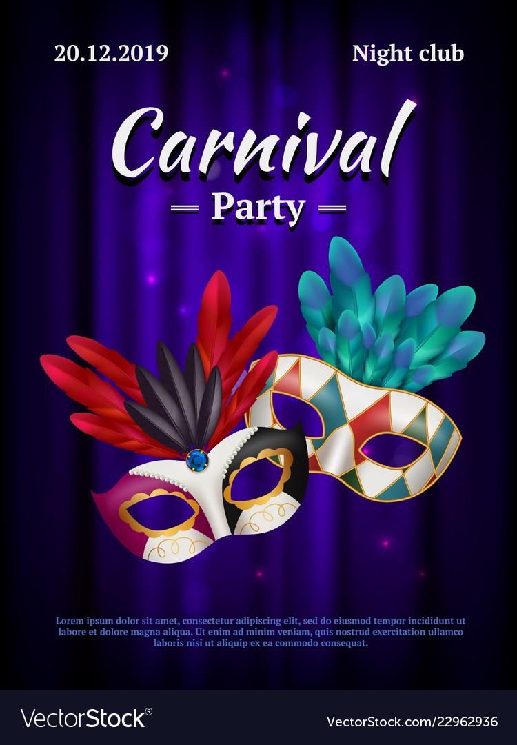 Carnival placard masquerade poster invitation