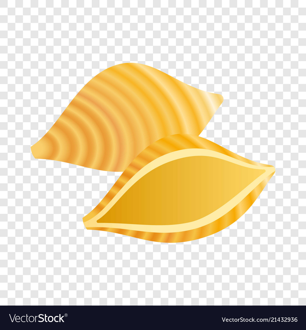 Conchiglie pasta icon realistic style