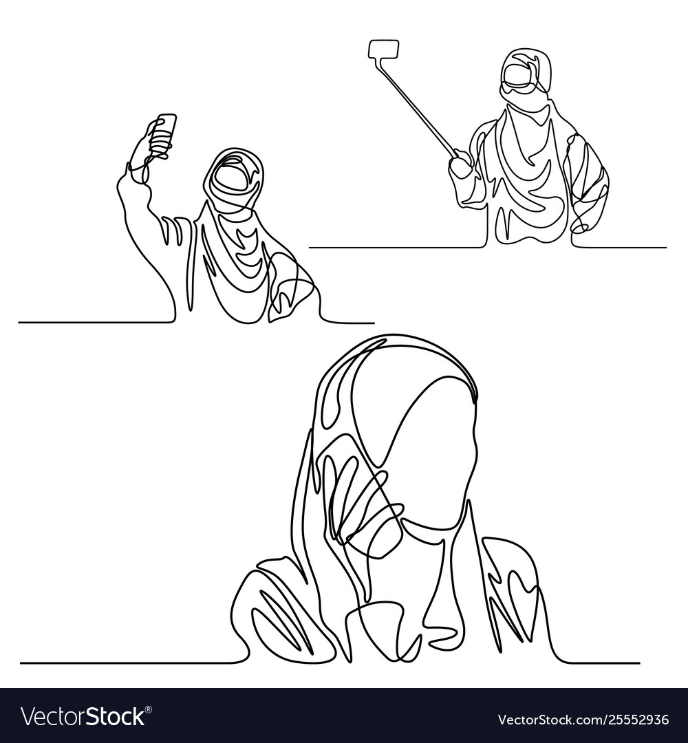 Continuous line set muslim woman with phone doing