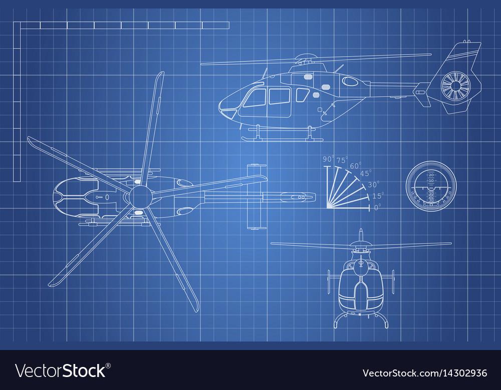 Engineering blueprint of helicopter royalty free vector engineering blueprint of helicopter vector image malvernweather Images