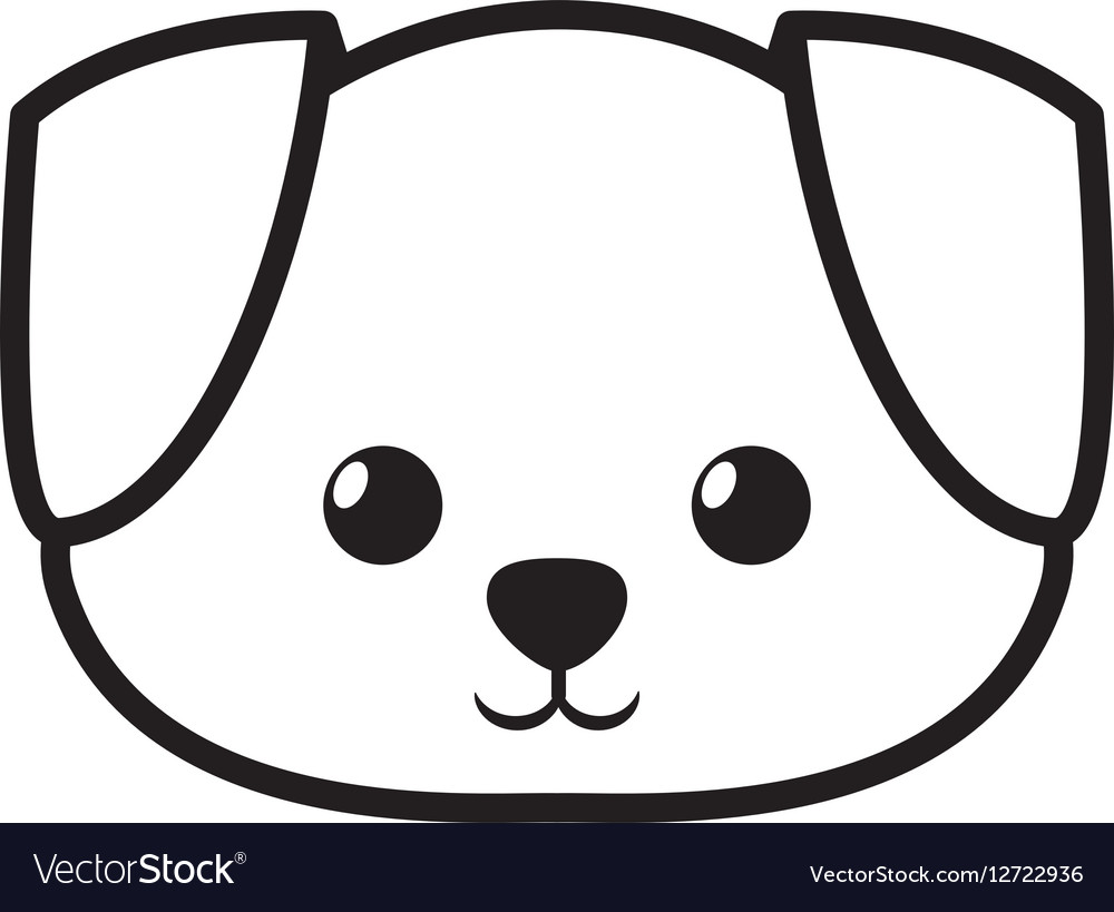 Face dog adorable pedigree outline Royalty Free Vector Image - photo#4