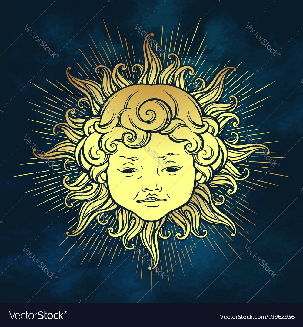 Gold sun with face of cute curly smiling baby boy