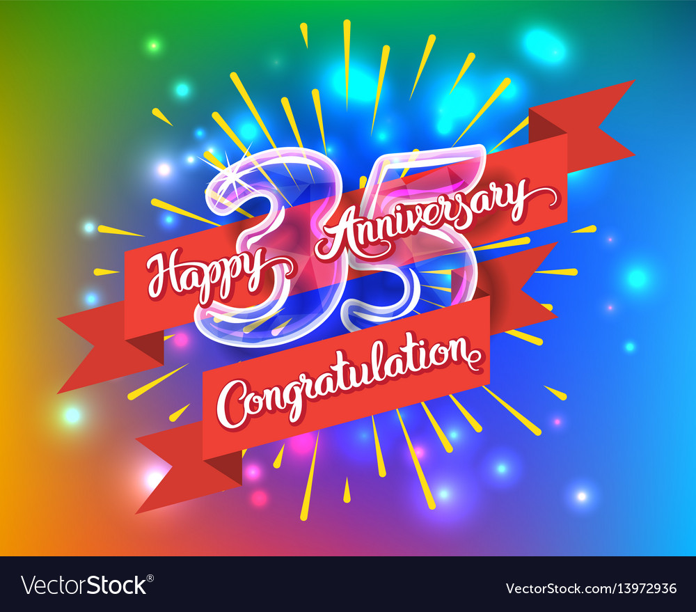 Happy 35th anniversary glass bulb numbers set vector image