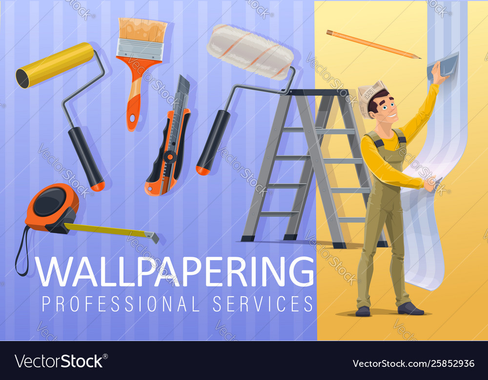 wallpaper applying service Vector Image