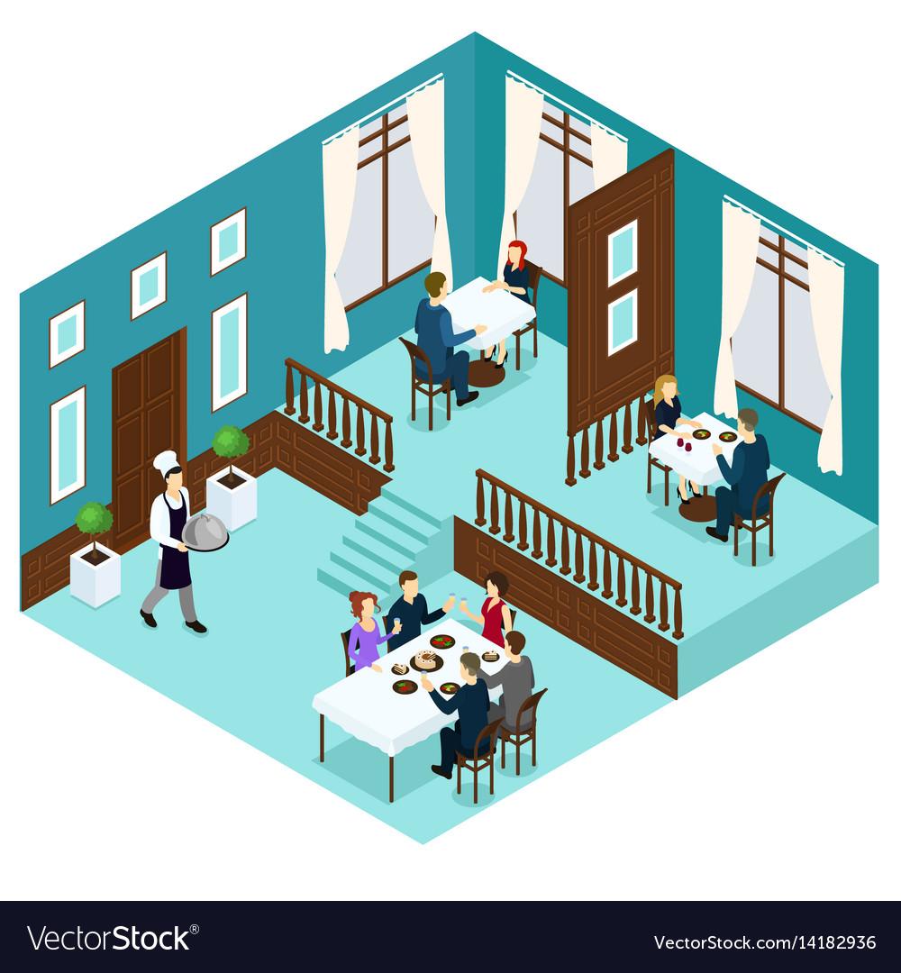 Isometric restaurant dining room concept