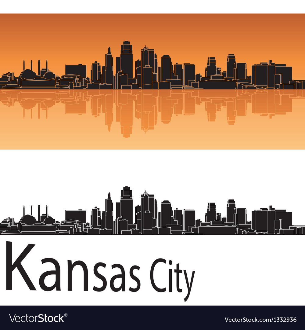Kansas City skyline in orange background vector image