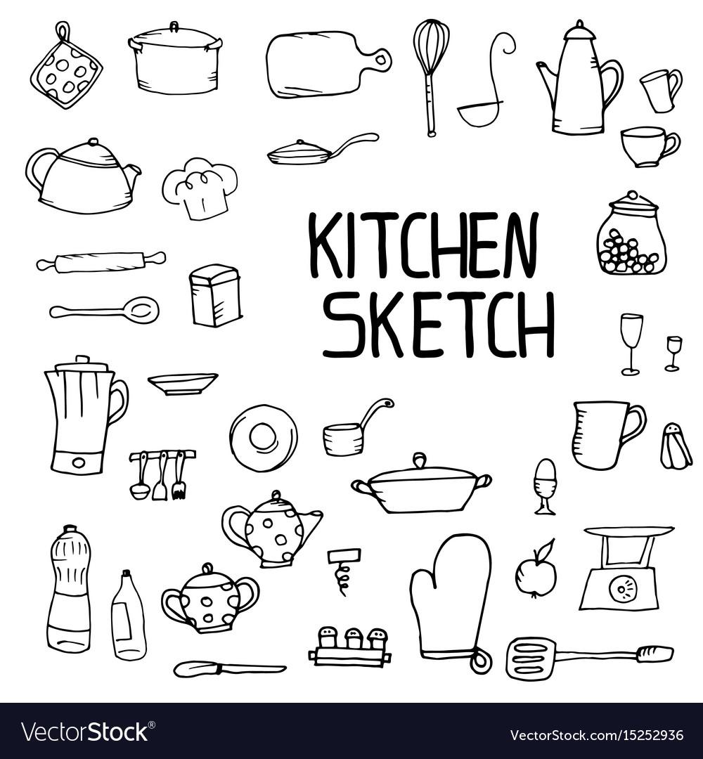 Kitchen utensils sketch