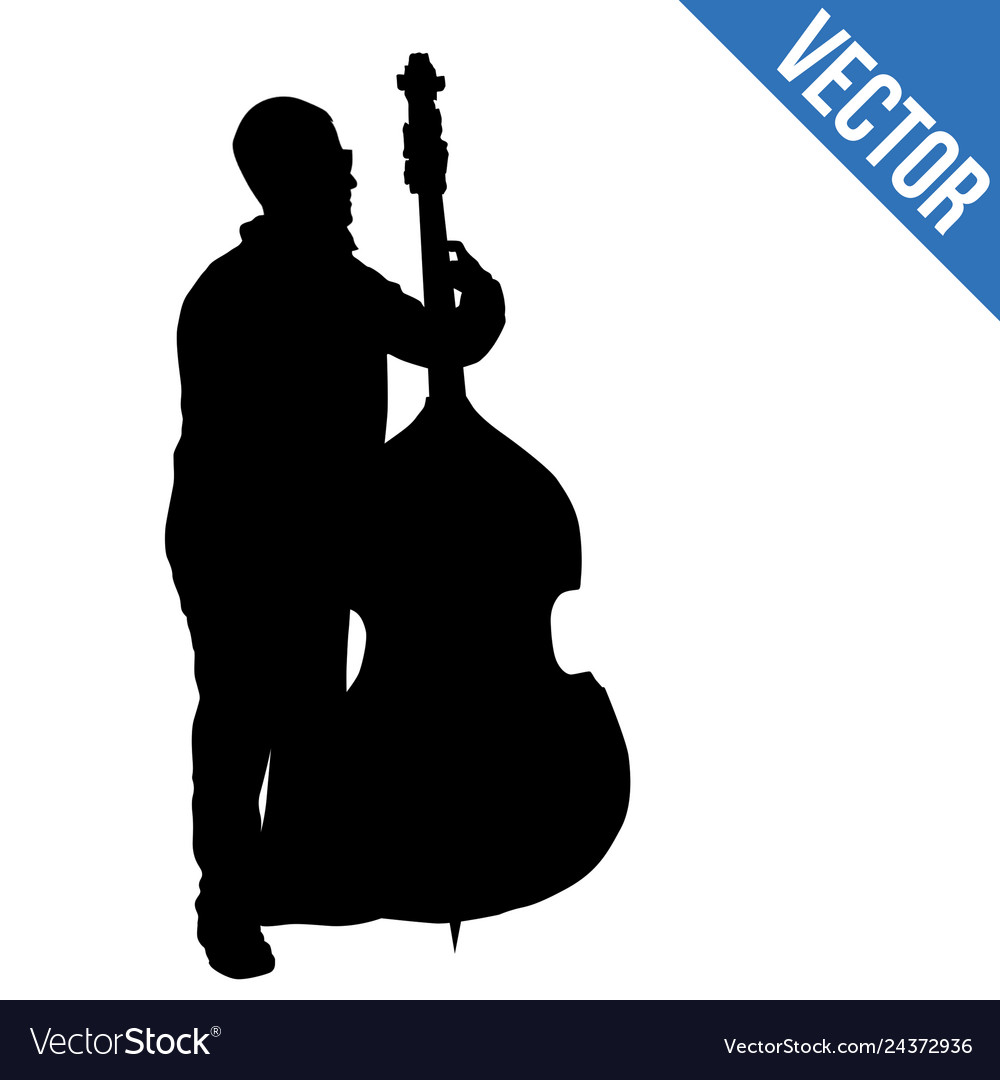Man silhouette playing double bass