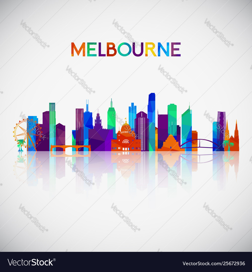 Melbourne skyline silhouette in colorful