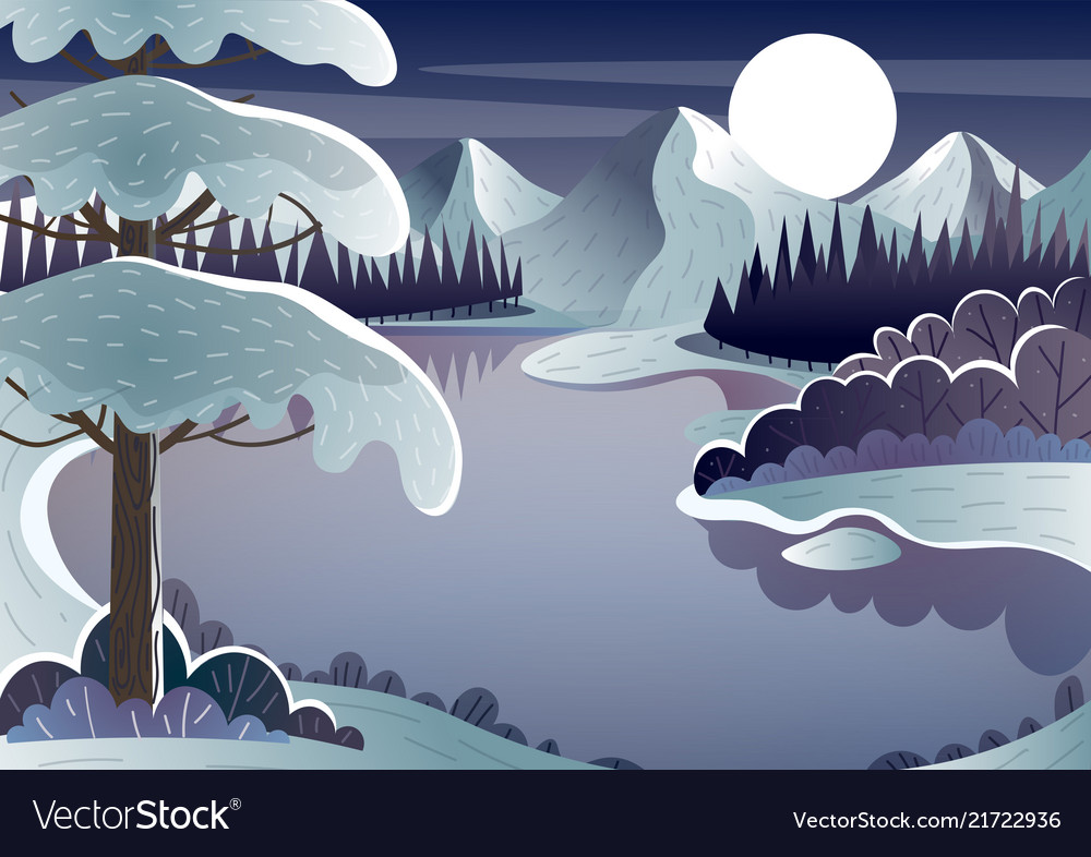 Night winter landscape mountain lake and moon